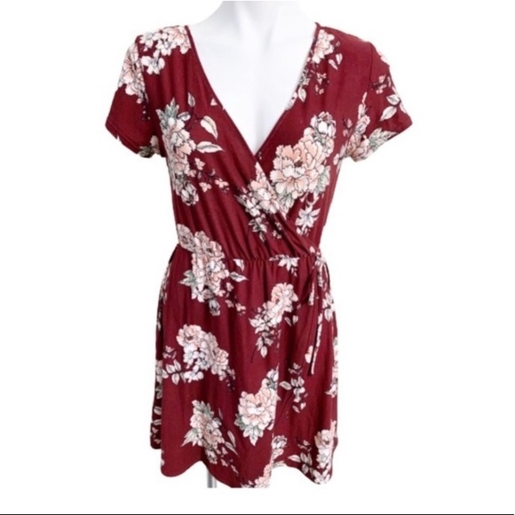 Derek Heart Burgundy Floral Dress